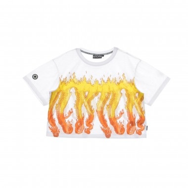 T-SHIRT W- CROP FLAMES TEE