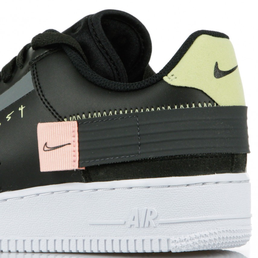 LOW SHOE AIR FORCE 1 TYPE BLACKANTHRACITE ZINNIAPINK TINT