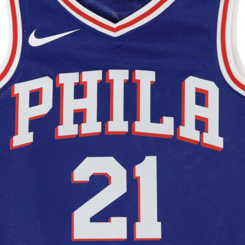 newest d8e14 3a87f CANOTTA BASKET NBA SWINGMAN JERSEY NO21 JOEL EMBIID PHI76E ROAD RUSH BLUE