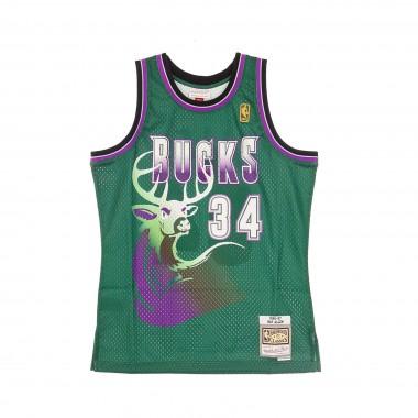 CANOTTA BASKET NBA SWINGMAN JERSEY HARDWOOD CLASSICS N34 RAY ALLEN 1996-97 MILBUC ALTERNATE