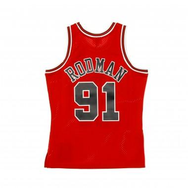 CANOTTA BASKET NBA SWINGMAN JERSEY HARDWOOD CLASSICS NO91 DENNIS RODMAN 1997-98 CHIBUL HOME Array