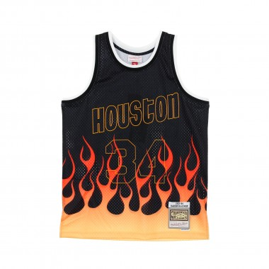CANOTTA BASKET NBA SWINGMAN JERSEY FLAMES HARDWOOD CLASSICS N34 HAKEEM OLAJUWON 1993-94 HOUROC