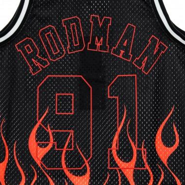 CANOTTA BASKET NBA SWINGMAN JERSEY FLAMES HARDWOOD CLASSICS NO91 DENNIS RODMAN 1997-98 CHIBUL S