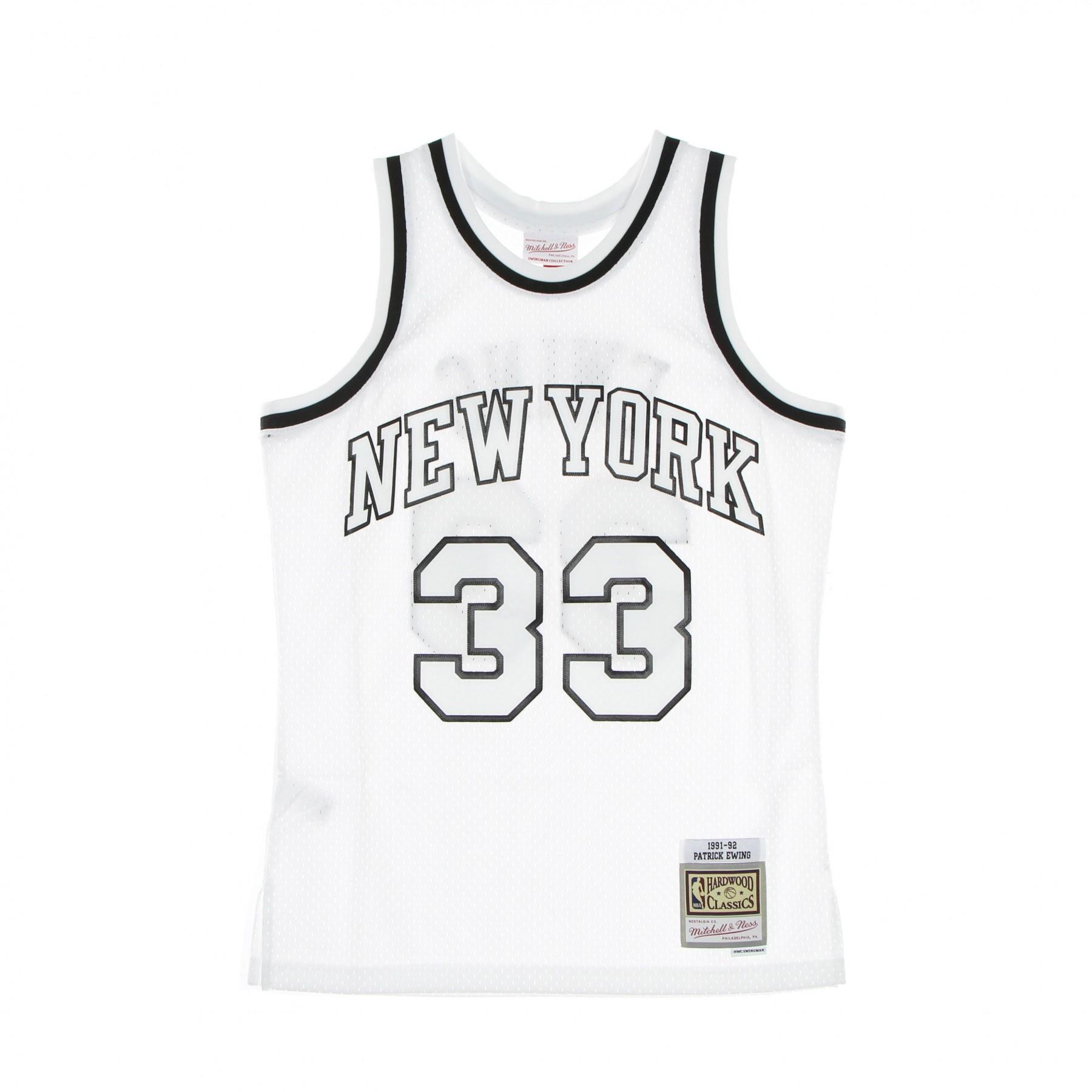 canotta basket uomo nba white black swingman jersey hardwood classics no 33 patrick ewing 1991-92 neykni XL