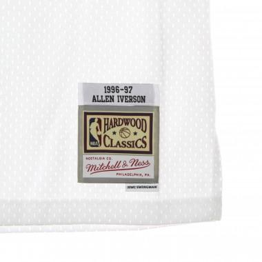 canotta basket uomo nba white black swingman jersey hardwood classics no 3 allen iverson 1996-97 phi76e XL