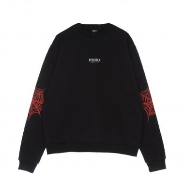 lightweight crewneck sweatshirt  man red cobweb print crewneck