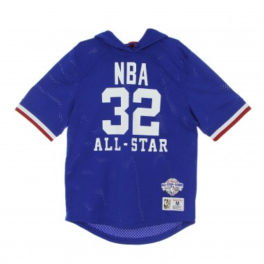 lightweight short-sleeved hooded sweatshirt  man nba mesh fashion hoodie hardwood classics no. 32 magic johnson all star west