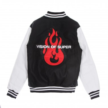 college jacket man flame logo patch college