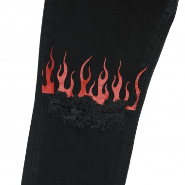 jeans man red flames front denim