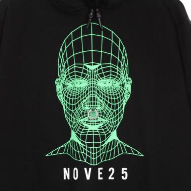 felpa leggera cappuccio uomo green face hoodie x nove25 One Size