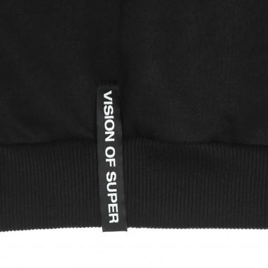 zipped hoodie man flame patch hoodie