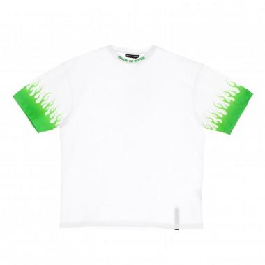 t-shirt man shaded green flames tee
