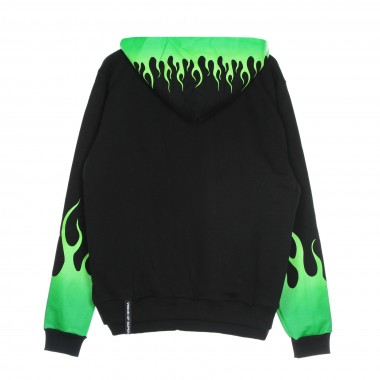 felpa leggera cappuccio uomo green shaded flames hoodie XL