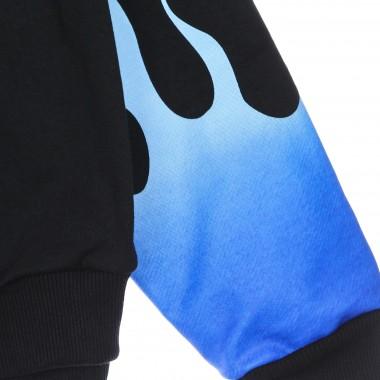 lightweight hoodie man blue shaded flames hoodie