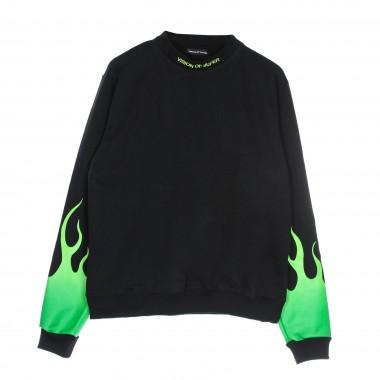 lightweight crewneck sweatshirt  man green shaded flames crewneck