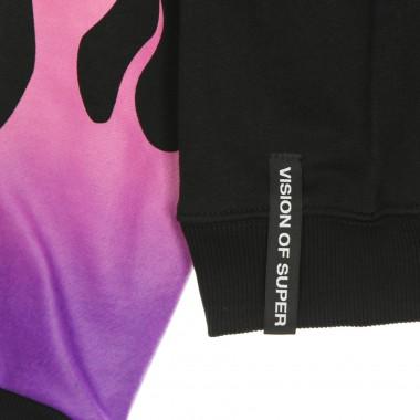 lightweight crewneck sweatshirt  man purple shaded flames crewneck