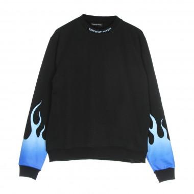 lightweight crewneck sweatshirt  man blue shaded flames crewneck