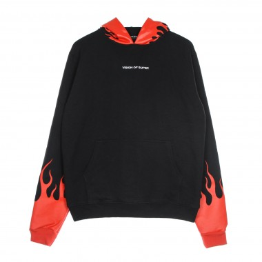 felpa leggera cappuccio uomo red flames hoodie XL