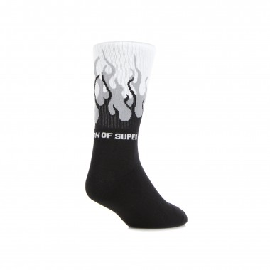 medium sock man flames socks