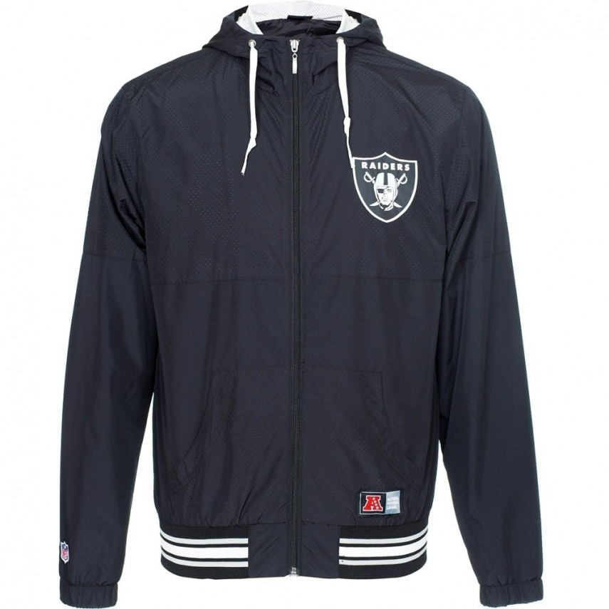 huge selection of d2111 fb7db GIUBBOTTO MAJESTIC JACKET WINDBREAKER PERFORATED NFL OAKLAND RAIDERS Black  unico | Atipicishop.com