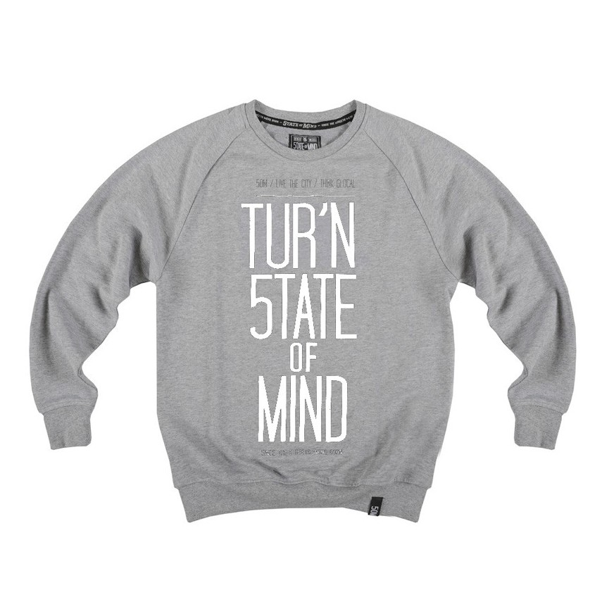 low cost 6cdf8 67bd5 FELPA GIROCOLLO 5TATE OF MIND SWEATSHIRT CREWNECK TURN STATE OF MIND  Grey/White unico | Atipicishop.com