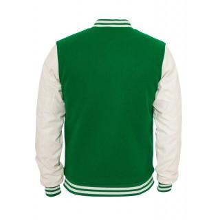GIUBBOTTO URBAN CLASSICS JACKET VARSITY TEDDY Green/White stg