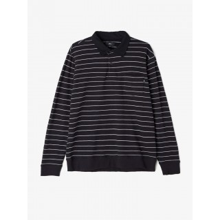 CAMICIA OBEY POLO SHIRT L/S POCKET GLASSEL RUGBY Black/WhiteStripes