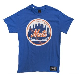 MAGLIETTA MAJESTIC T-SHIRT MLB NEW YORK METS PRISM Royal White Orange 18c21649b9c1