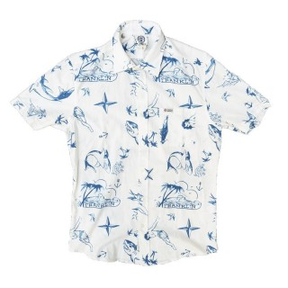 CAMICIA FRANKLIN  MARSHALL SHIRT S/S HOLLYWOOD White/AlohaBlue stg