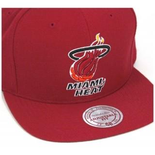CAPPELLO SNAPBACK MITCHELL  NESS CAP SNAPBACK NBA MIAMI HEAT HWC WOOL SOLID Red stg