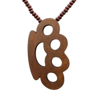 COLLANA KINGLOOP NECKLACE WOOD BRASS KNUCKLES Brown stg