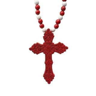COLLANA KINGLOOP NECKLACE WOOD CROSS Red/White