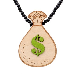 COLLANA KINGLOOP NECKLACE WOOD GREEN DOLLAR Black stg