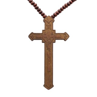 COLLANA KINGLOOP NECKLACE WOOD CRUCIFIX Brown stg