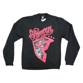 FELPA GIROCOLLO FAMOUS SWEATSHIRT CREWNECK FAMOUS PATCHES Black/Red