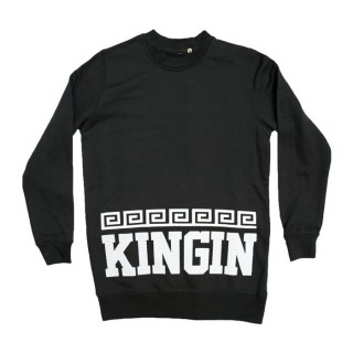 FELPA GIROCOLLO LAST KINGS SWEATSHIRT CREWNECK KINGIN Black/White
