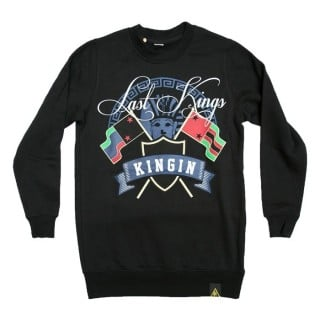 FELPA GIROCOLLO LAST KINGS SWEATSHIRT CREWNECK BLUE PHARAOHE KINGIN Black/White/Blue