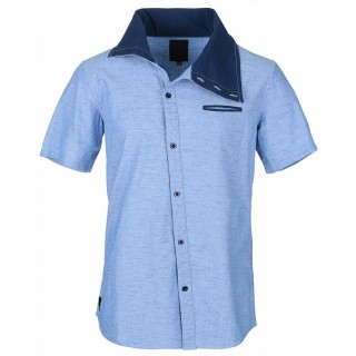 CAMICIA HUMOR SHIRT S/S NECK HALO Chambray/Navy