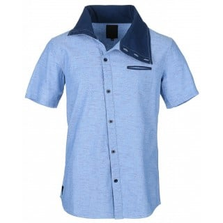 CAMICIA HUMOR SHIRT S/S NECK HALO Chambray/Navy stg