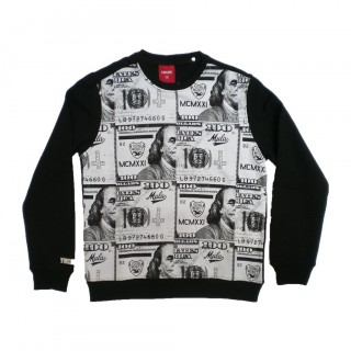FELPA GIROCOLLO YMCMB SWEATSHIRT CREWNECK PAY ROLL Black