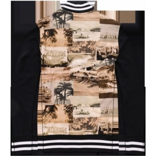 FELPA GIROCOLLO FRANKLIN  MARSHALL SWEATSHIRT VARSITY 60S SURF ALL OVER Black/White