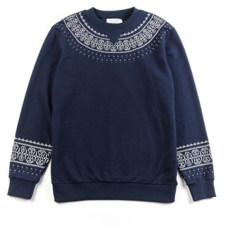FELPA GIROCOLLO CROOKS  CASTLES SWEATSHIRT CREWNECK NATIVE TrueNavy/Paisely