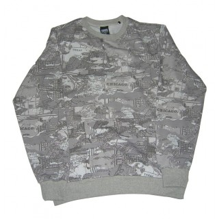 FELPA GIROCOLLO CROOKS  CASTLES SWEATSHIRT CREWNECK TACTICS Grey Map Camo