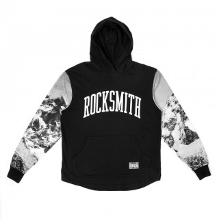 MAGLIETTA ROCKSMITH T-SHIRT L/S HOODED TASCHE EVEREST Black/All Over Sleeves