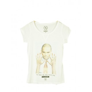 MAGLIETTA BOOM BAP WOMAN T-SHIRT BROKISS V-NECK White stg