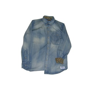 CAMICIA WRUNG SHIRT L/S THE WORKS Denim/Leopard