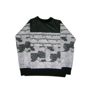 FELPA GIROCOLLO BROOKLYN HAZE SWEATSHIRT CREWNECK BLACK ROSES Black/White
