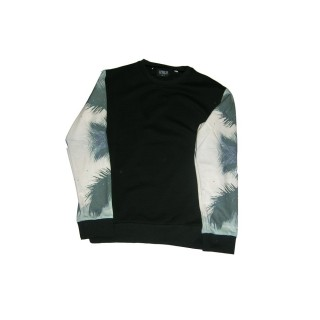 FELPA GIROCOLLO BROOKLYN HAZE SWEATSHIRT CREWNECK PALMS SLEEVE Black/Palms stg