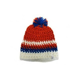 BERRETTO LANA COAL BEANIE POM POM THE LEWIS White/Orange/Royal stg