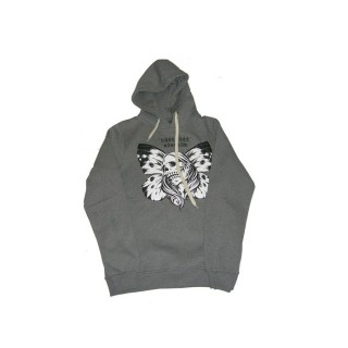 FELPA CAPPUCCIO UPPER PLAYGROUND SWEATSHIRT HOODIE BUTTEFLY SKULL Heather Grey